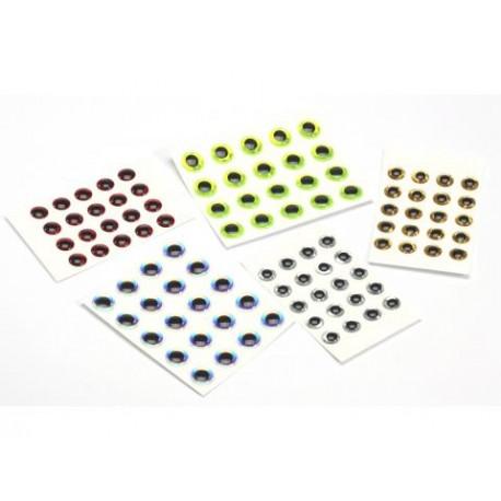Yeux - 3D - Holograme - Sac de 20 - Choix de 7 couleurs et 8 grosseurs.