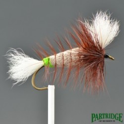 Shadows - Wulff Bomber - Gray with chatreuse butt - White Tail - Brown Hackle.